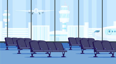 Airport terminal waiting room flat illustration. Vector design element.