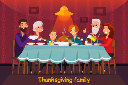 Thanksgiving holiday flat vector banner concept. Parents, grandparents and grandchildren cartoon characters. Family tradition. Greeting card concept. Festive dinner illustration with lettering