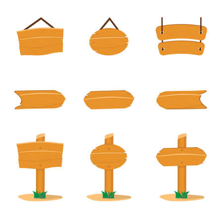 Wooden sign boards flat vector illustrations Ilustrace