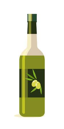 Olive oil bottle flat vector illustration Ilustração