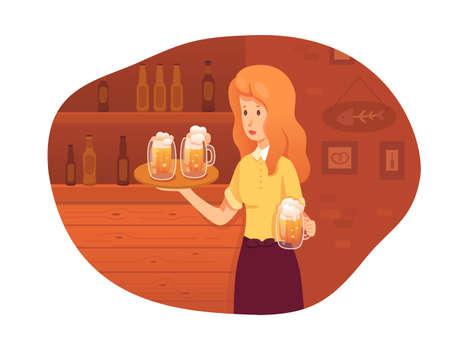 Waitress carrying beer mugs in pub vector illustration. Employee in uniform. German restaurant, bar staff. Woman bringing order for customer. Octoberfest waitress. Beer, alcoholic beverage in bottle