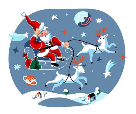 Christmas sleigh ride flat vector illustration  イラスト・ベクター素材