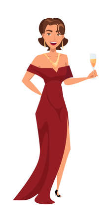Woman in festive dress flat vector characters. Lady in long red gown holding champagne glass isolated clipart on white background. Smiling elegant female celebrity at VIP event design element Çizim