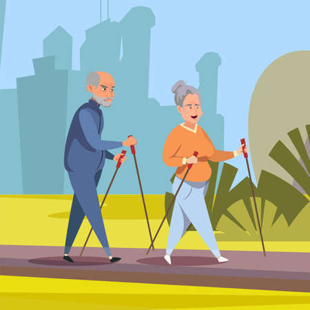 Seniors on outdoor stroll flat vector illustration. Old couple, aged husband and wife in sportswear cartoon characters. Nordic walk, happy retirement, healthy lifestyle. Elderly people in city park