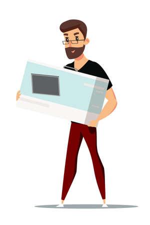 Man with huge box vector illustration