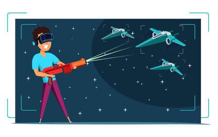 Virtual reality gaming flat vector illustration