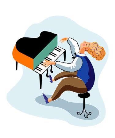 Grand piano player cartoon character