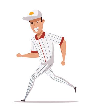 Cheerful baseball player flat vector illustration