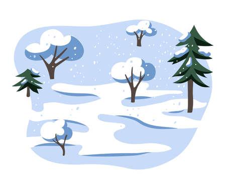 Winter landscape flat vector illustration Ilustração