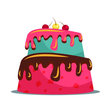 Delicious two tier cake flat vector illustration 写真素材 - 131677249