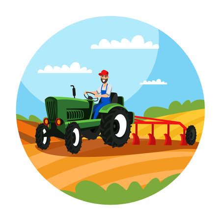 Bauer, der Traktor mit Pflugillustration fährt Vektorgrafik