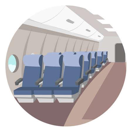 Empty airplane aisle flat vector illustration 向量圖像