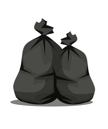 Plastic garbage bags flat vector illustration