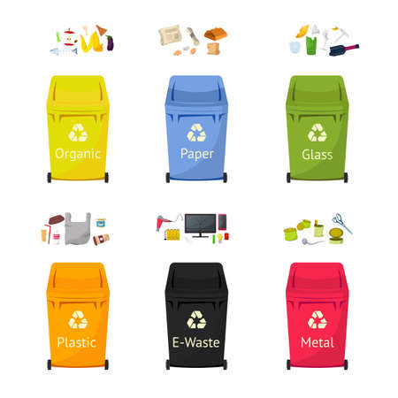 Garbage sorting bins flat vector illustrations set Illusztráció