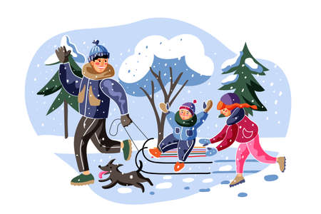 Happy family sledding flat vector illustration. Cheerful father, son and daughter cartoon characters. Parent with little children and dog outside. Winter holiday recreation, childhood activity