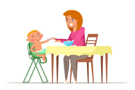 Mother feeding toddler flat vector illustration. Young mom giving spoon to baby sitting in highchair. Cute girl, babysitter offering fresh food, porridge to kid cartoon characters. Motherhood routine