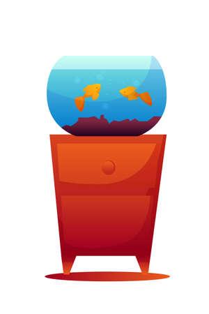Gold fishes in aquarium flat vector illustration