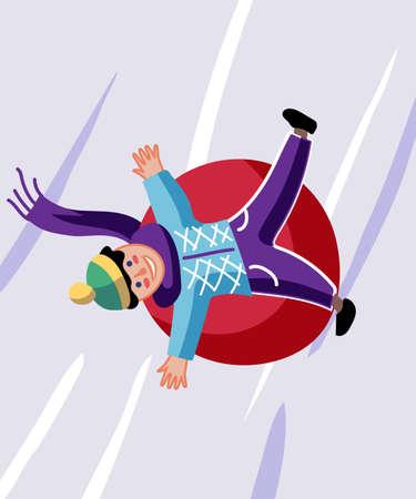Winter sledding, fun flat vector illustration