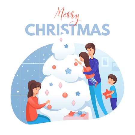 Merry Christmas postcard template. Family decorating Christmas tree flat illustration