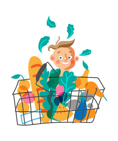 Child with shopping basket flat vector character Иллюстрация
