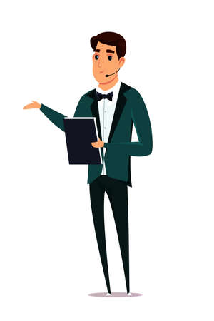 Event host flat vector illustration. Caucasian man wearing luxury clothes cartoon character on white background. Attractive male presenters on stage isolated clipart