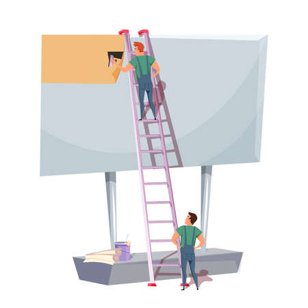 Billboard installation flat vector illustration Standard-Bild - 133297336