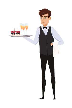 Waiter at work flat vector illustration