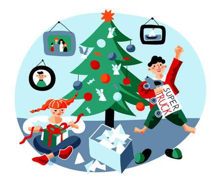 Christmas morning flat vector illustration Illustration
