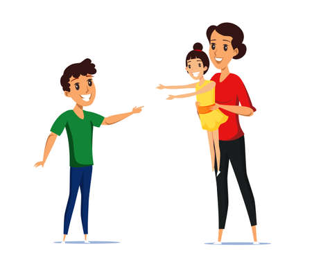 Cheerful mother with kids flat vector illustration