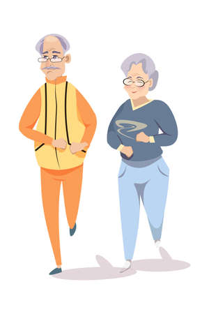 Seniors on morning run flat vector illustration 스톡 콘텐츠 - 133975120