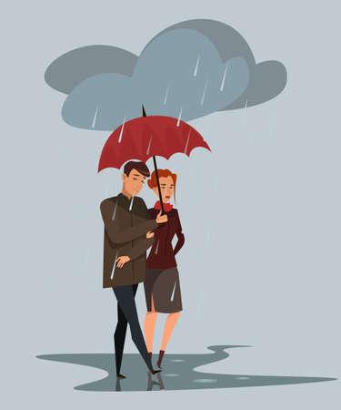 Couple under rain flat vector illustration