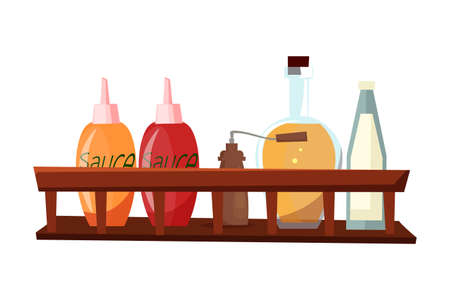 Sauces and spices flat vector illustration