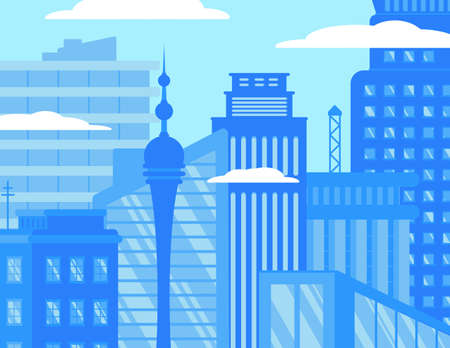City skyline flat vector illustration
