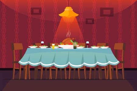 Festive table flat vector illustration