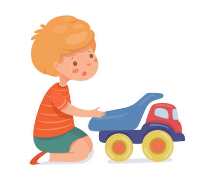 Boy playing with toy car flat vector illustration