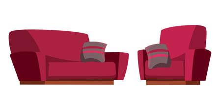 Sofa and armchair flat vector illustration Ilustração