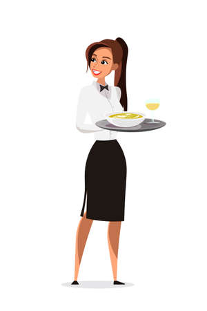 Restaurant waitress flat vector character
