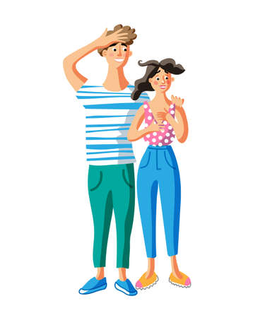 Astonished young couple flat vector illustration