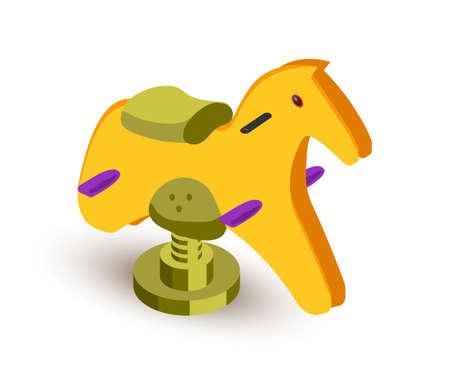 Rocking horse isometric vector illustration Ilustrace
