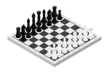 Figures on chessboard isometric illustration Standard-Bild - 133302866