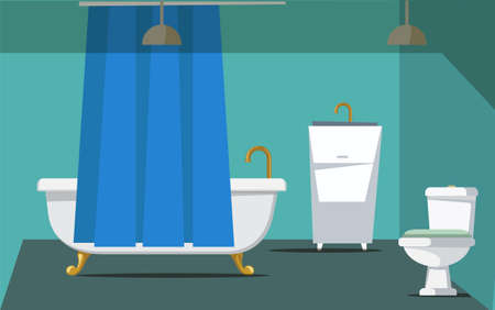Bathroom interior decor flat vector illustration Stock fotó - 133306206