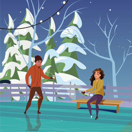 Couple on ice rink flat vector illustration