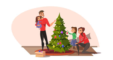 Family decorating Christmas tree flat illustration