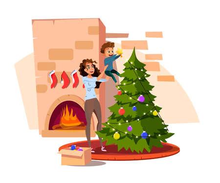 Family decorating Christmas tree flat illustration