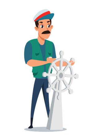 Captain at steering wheel vector illustration Vektorgrafik