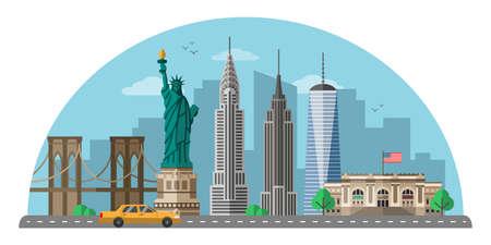 Flache Vektorillustration in New York City. Moderne Metropole der Vereinigten Staaten lokalisierte Cliparts auf weißem Hintergrund. US weltberühmte Wahrzeichen und Touristenattraktionen Cartoon-Design-Elemente Vektorgrafik