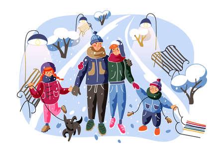 Family going home flat vector illustration