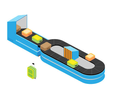 Airport baggage claim isometric illustration Standard-Bild - 133311734