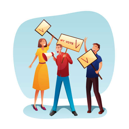 Promo campaign presentation flat illustration Иллюстрация