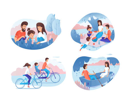Family activities flat vector illustrations set. Happy parents spending time together with child cartoon characters. Mother, father and daughter in nature, on picnic, bicycling. Couple romantic date